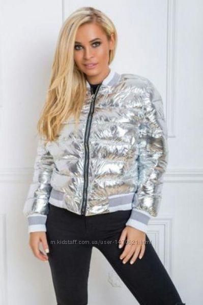 Бомбер, куртка деми, цвет серебро