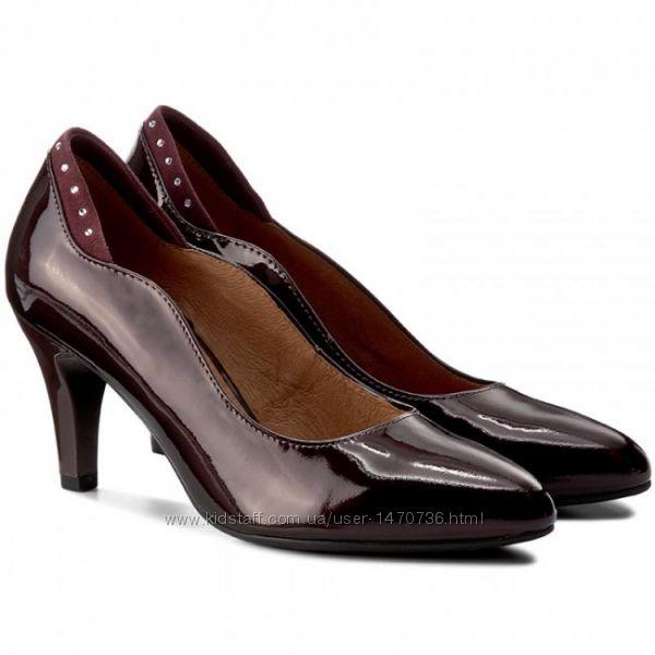 Туфли из натуральной кожи немецкого бренда Caprice бордовые 87f0fdcb4ec6e