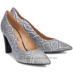 Туфли из натур. кожи немецкого бренда Caprice черно-серебр. , р. 38. 5, 39
