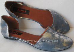 Стильные лодочки Lady&acutes разделенки туфли натуральная кожа деленки