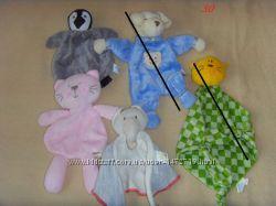 Мягкие слюновпитывающие платочки игрушки, с погремушками