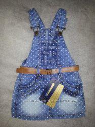 Стильный, модный, джинсовый комбинезон, сарафан на девочку 2-5 лет .