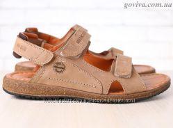 Мужские сандалии Multi Shoes на липучках натуральная кожа оливковые
