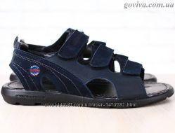 Мужские сандалии Multi Shoes на липучках натуральная кожа и нубук синие