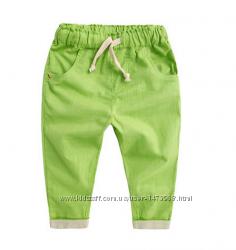 Детские брюки для девочек и мальчиков, хлопок, 80, 90, 100, 110, 120см Рост
