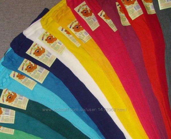 Детские колготы простые хб рубчик белые и цветные, 50, 55, 68, 74, 80, 8