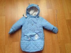 Конверт, мешочек демисезонный голубой на рост 62 для мальчика новорождённого