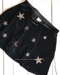 Велюровая юбка юбочка с блестящими звёздами
