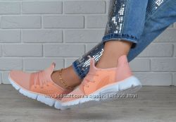 Кроссовки женские текстильные персиковые Peach powder на шнуровке