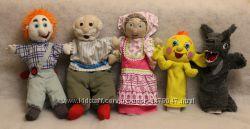Кукольный театр  игрушка на руку Колобок, Дед и Баба, Мальчик, Девочка