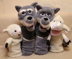 Кукольный театр игрушка на руку перчатка волк с открывающимся ртом