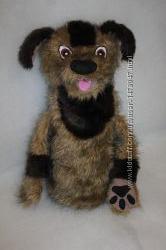 Кукольный театр игрушка на руку перчатка собака с открывающимся ртом