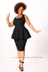 Платье с баской, классика, большой размер 22 5XL