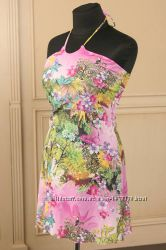 Пляжное итальянское платье rosapois цветочный принт с бабочками и птицами
