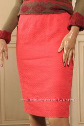 Laurel  Escada  XS-S коралловая юбка карандаш на подкладке