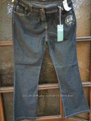 Джинсы F&F, женские, синие, стрейчевые, новые, р. 16, длина от пояса 101см.