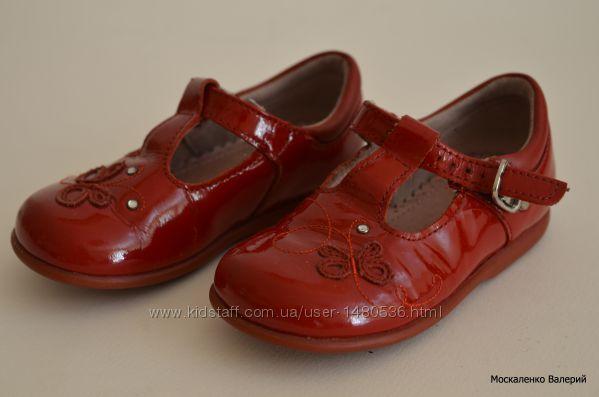 Кожаные красные лакированные туфли Start-Rite с аппликацией для девочки.