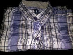 Рубашка тенниска короткий рукав для худого высокого подростка 100 натур