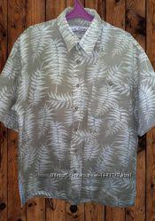 Рубашка мужская короткий рукав тенниска 55 лён и 45 cotton