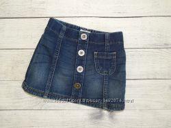 Джинсовая синяя юбка next для девочки 6-9 месяцев 74 рост