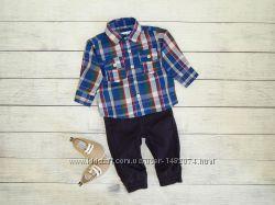 Костюмчик для мальчика 0-3 месяцев, рубашка в клетку,  штаны  и пинетки.