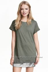 Темно-зеленое платье-футболка от H&M