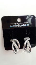 Серьги сережки Casablanca под серебро, камушки, камни, крученные