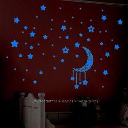 Набор наклейки светящиеся в темноте флуоресцентные звезды планеты луна