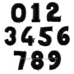 Цифры фольгированные черные шарики из фольги воздушные шары надувные