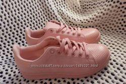 Кеды женские стильные розовые, пудровые, персиковые экозамшакожа