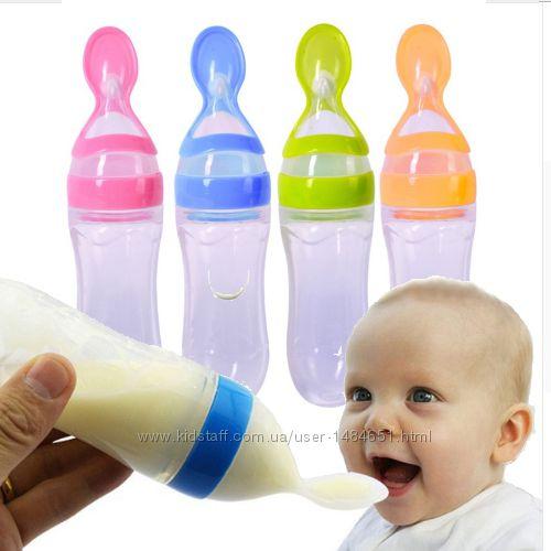 Силиконовая бутылочка с ложкой для первого жидкого прикорма