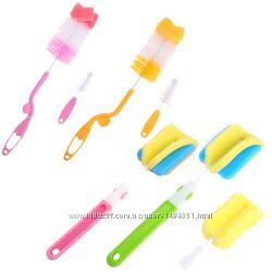 Удобный Набор ершиков, губок для мытья бутылочек на ручке сменка