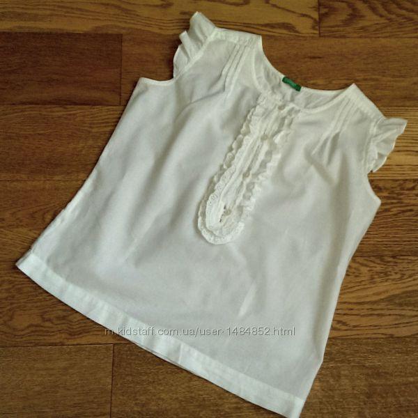 Блузка белая Benetton р L на 9-12 лет