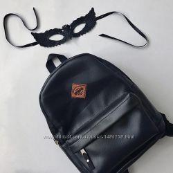 Рюкзак черный однотонный кожаный эко кожа унисекс