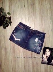 Юбка джинсовая с надписями 00015