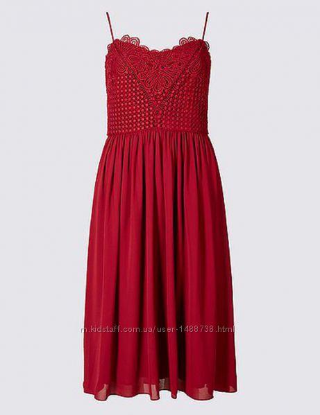 Плаття сукня мереживо шифон довжина міді m&s