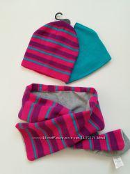Красивый набор для девочки 2 шапки и шарфик на 1-3 года