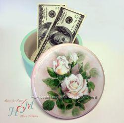 Авторская шкатулка Нежные розы