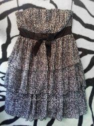 Шифоновое летнее платье без брителей сарафан бюстье сукня плаття oodji 36 3