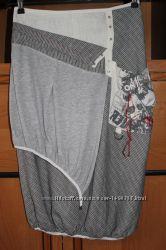 Льняная юбка-бочонок в стиле casual