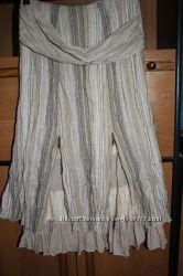 Шикарная оригинальная льняная юбка
