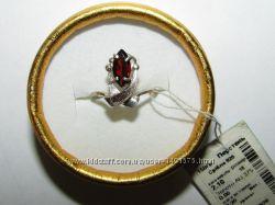 Элегантное серебряное кольцо 925 пробы с натуральным гранатом