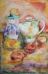 Авторская картина Чайная улыбка акварель в раме украшение дома живопись