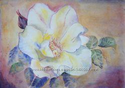 Картина Нежный цветок любви рамка акварель магнолии рисунок живопись весна