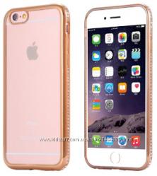 Силиконовый  чехол с золотым ободком и камнями Сваровски для Iphone 6 6S