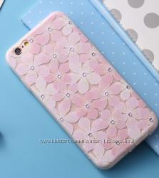 Силиконовый чехол с цветочками для iphone 66S