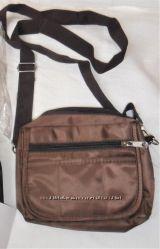 Новая мужская сумка на плечо пояс бананка барсетка коричневая