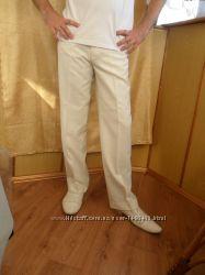 Классные нарядные брюки летние легкие кремового цвета бу