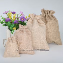 Подарочные мешочки из джута, льна.
