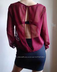 Сексуальная прозрачная блуза с красивой спинкой george бургунди бордовая